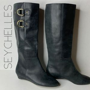 Seychelles black wedge tall leather boots 8.5